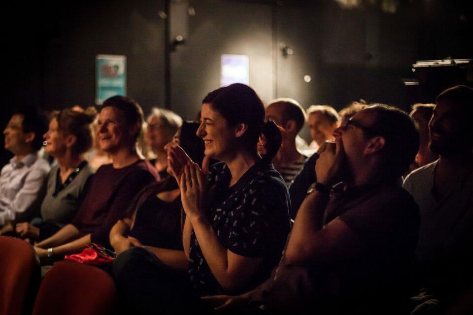 Hoopla audience laughing