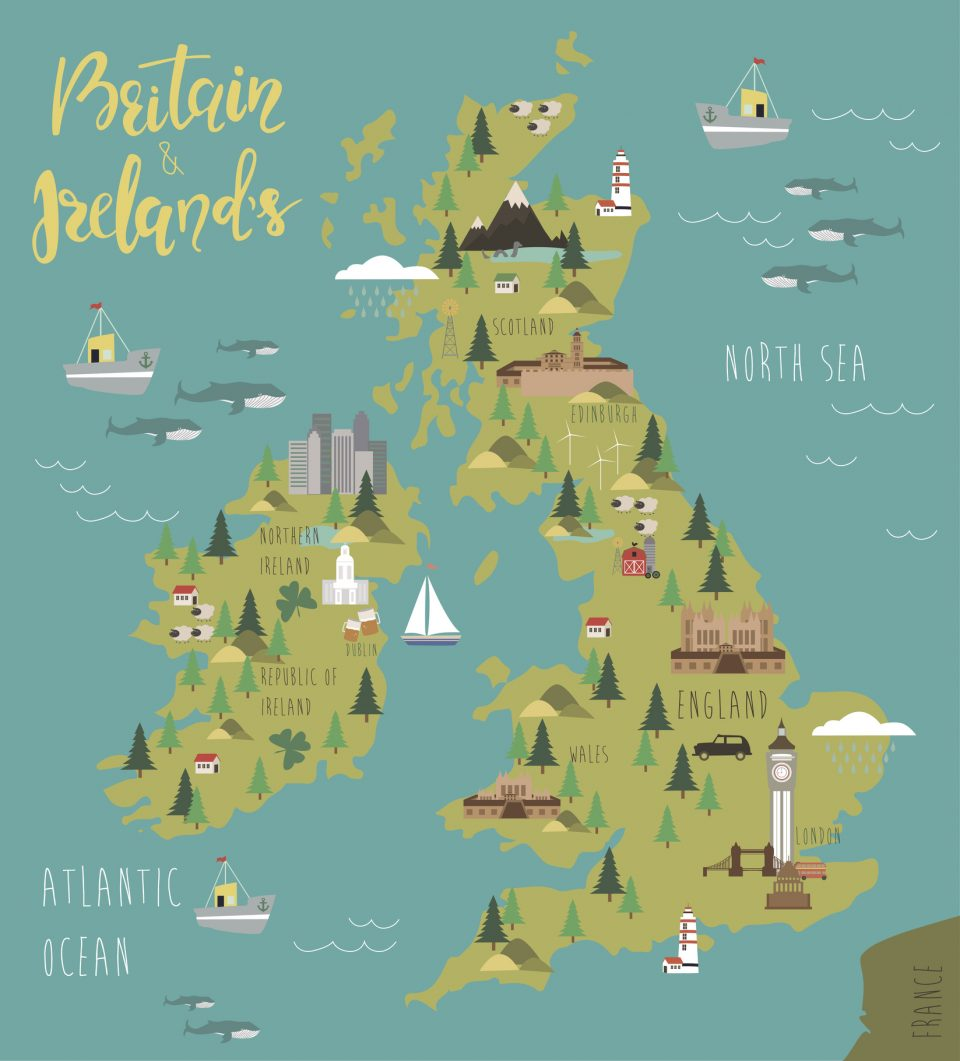 Map of Britain and Ireland's
